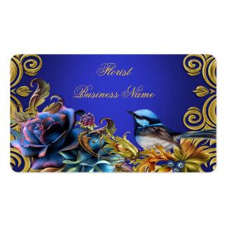 El oro del pájaro del vintage florece el azul del  tarjeta de visita