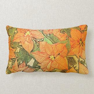 El oro del Poinsettia hojeó - almohada lumbar