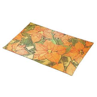 El oro del Poinsettia hojeó - Placemat Manteles Individuales