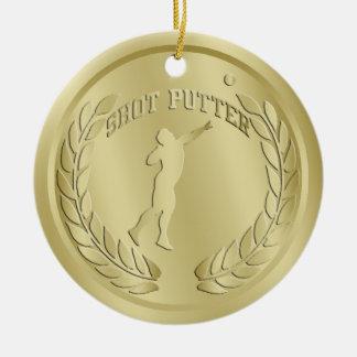 El oro del Putter de tiro entonó el ornamento de Adorno Navideño Redondo De Cerámica
