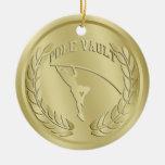 El oro del salto con pértiga entonó el ornamento d ornamento para arbol de navidad