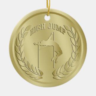 El oro del salto de altura entonó el ornamento de adorno navideño redondo de cerámica
