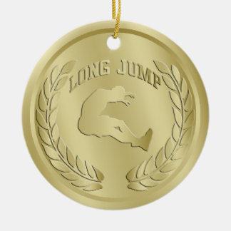 El oro del salto de longitud entonó el ornamento adorno navideño redondo de cerámica