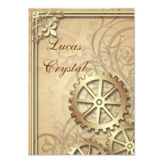 El oro del vintage adapta la invitación del boda invitación 11,4 x 15,8 cm