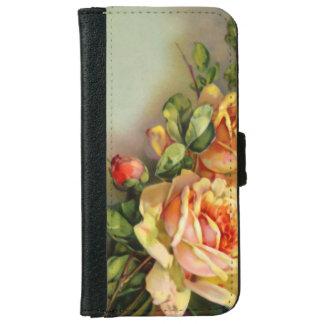 El oro del vintage y se ruboriza los rosas funda cartera para iPhone 6