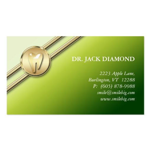 El oro dental del logotipo del diente de la tarjet tarjetas de visita