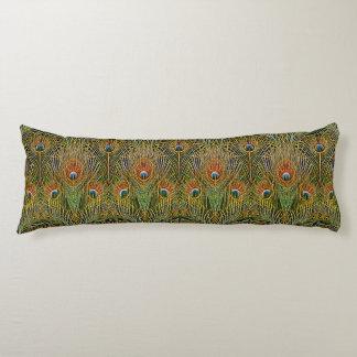 El oro elegante del pavo real elegante empluma el cojin cama