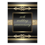 El oro elegante/el aniversario de boda negro invit invitacion personal