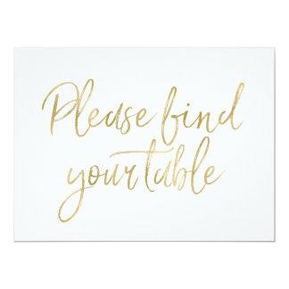 """El oro elegante """"encuentra por favor muestra de su invitación 6.5"""" x 8.75"""""""