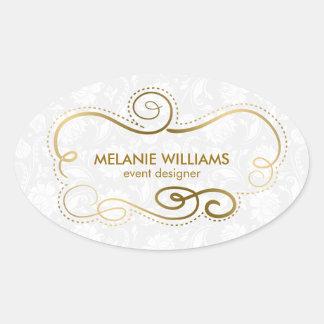 El oro elegante entona el marco de Swirly Pegatina Ovalada