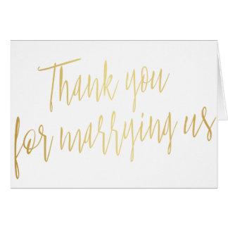 """El oro elegante """"le agradece por estropearnos """" tarjeta de felicitación"""