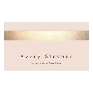 El oro elegante rayó (ningún brillo) rosa claro tarjetas de visita