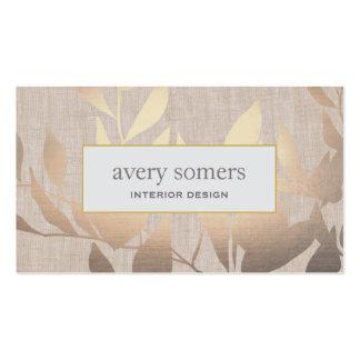 El oro elegante sale de beige moderno del diseño tarjetas de visita