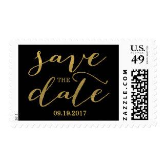 El oro elegante y el negro ahorran el franqueo de timbre postal