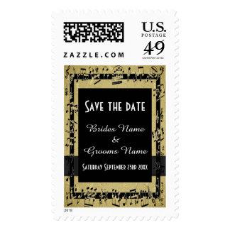 El oro elegante y el negro ahorran la fecha sello