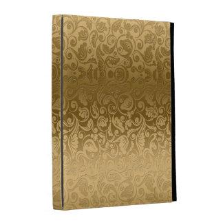 El oro entona el modelo floral de los damascos del
