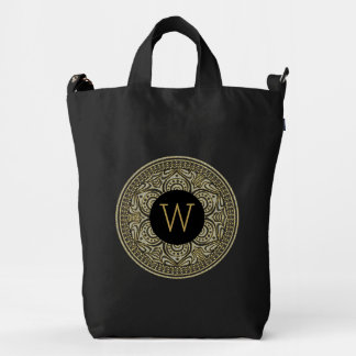 El oro entona la mandala del círculo del cordón bolsa de lona duck