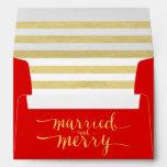 El oro feliz y casó el sobre impreso día de fiesta