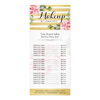 El oro floral del salón de belleza del maquillaje tarjeta publicitaria personalizada