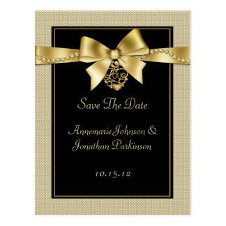 El oro gotea la cinta en reserva del negro la fech tarjeta postal