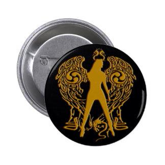 El oro graba en relieve el botón del ángel de la pin redondo de 2 pulgadas