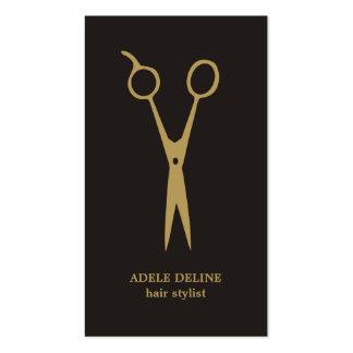 El oro gris minimalista Scissor al estilista Tarjetas De Visita