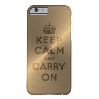 El oro guarda calma y continúa funda de iPhone 6 barely there