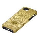 El oro metálico entona los damascos florales del v iPhone 5 Case-Mate protector