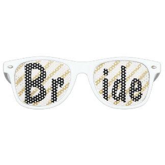 El oro moderno de las pinceladas raya a la novia lentes de fiesta