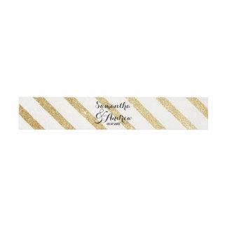 El oro moderno de las pinceladas raya el boda lazos para invitaciones de boda