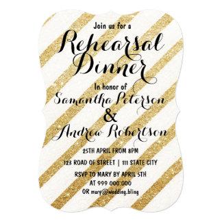 """El oro moderno de las pinceladas raya la cena del invitación 5"""" x 7"""""""