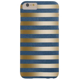 El oro moderno de los azules marinos raya la caja funda barely there iPhone 6 plus