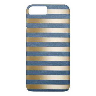 El oro moderno de los azules marinos raya la caja funda iPhone 7 plus