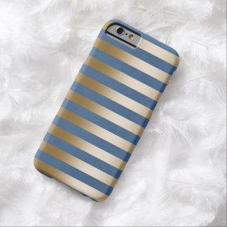 El oro moderno de los azules marinos raya la caja funda para iPhone 6 barely there