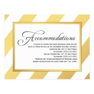 El oro moderno raya alojamientos del boda postales