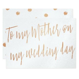 """El oro moderno subió """"a mi madre en mi día de boda invitación 5"""" x 7"""""""