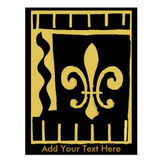 El oro negro de la flor de lis añade su texto aquí tarjeta postal