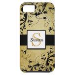 El oro negro remolina monograma iPhone 5 protectores