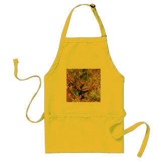 El oro otoñal sale del ejemplo de flores delantal