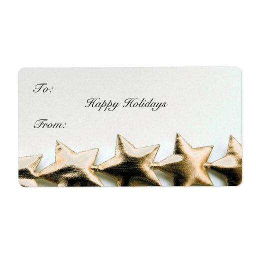 El oro protagoniza la etiqueta del regalo del navi etiqueta de envío