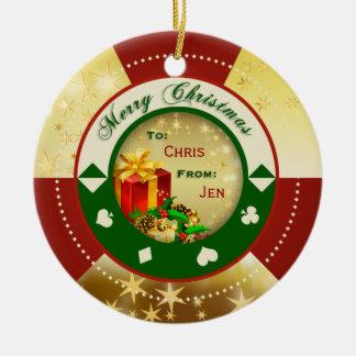 El oro protagoniza la etiqueta/el ornamento del re adorno de navidad