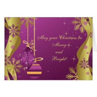 El oro púrpura adorna la tarjeta de Navidad