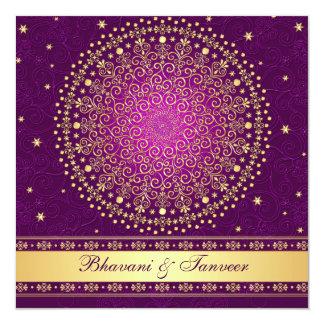 """El oro púrpura complejo enrolla las estrellas que invitación 5.25"""" x 5.25"""""""