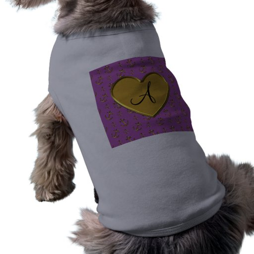 El oro púrpura de la lila del monograma ancla el c ropa de perros