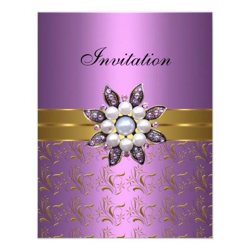 El oro púrpura de la lila invita a la joya Clas el Comunicados Personalizados