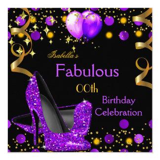 """El oro púrpura de los tacones altos hincha a la invitación 5.25"""" x 5.25"""""""
