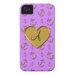 El oro púrpura en colores pastel del monograma anc iPhone 4 carcasa
