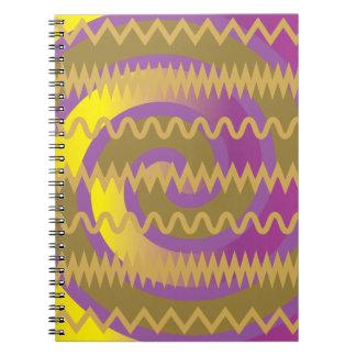 El oro púrpura remolina modelo de Chevron de las o Cuaderno