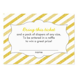El oro raya boletos de la rifa del pañal de la tarjetas de visita grandes