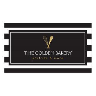 El oro rayado de lujo bate la panadería del tarjetas de visita